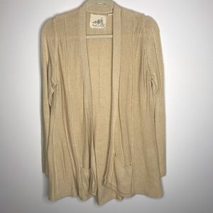 Anthro Angel of the North tan open cardigan large